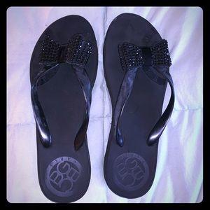 BCBG Black flip flops. Size 11.